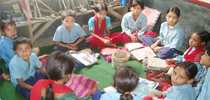 Local Teaching Material With Children in Room Sigasain- Rata Bhairab school
