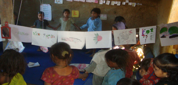 Education Material With Children in ECDC Singasain -8 Rata